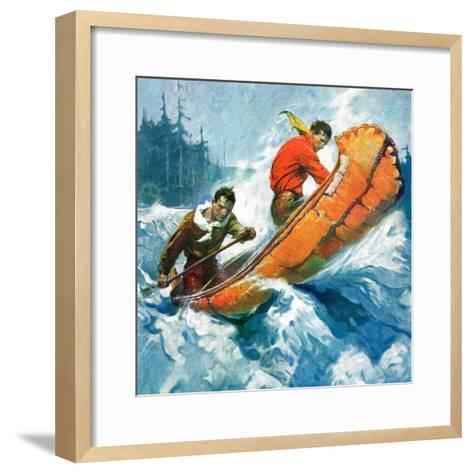 """Canoeing Through Rapids,""March 1, 1930-Frank Schoonover-Framed Art Print"
