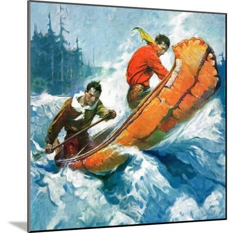 """""""Canoeing Through Rapids,""""March 1, 1930-Frank Schoonover-Mounted Giclee Print"""