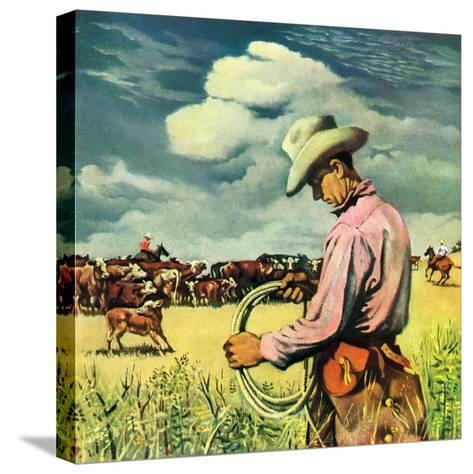 """""""Herding Cattle,""""January 1, 1942-George Schreiber-Stretched Canvas Print"""