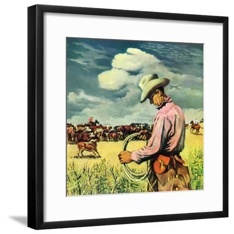 """""""Herding Cattle,""""January 1, 1942-George Schreiber-Framed Art Print"""