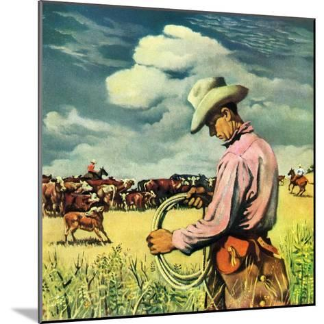 """""""Herding Cattle,""""January 1, 1942-George Schreiber-Mounted Giclee Print"""