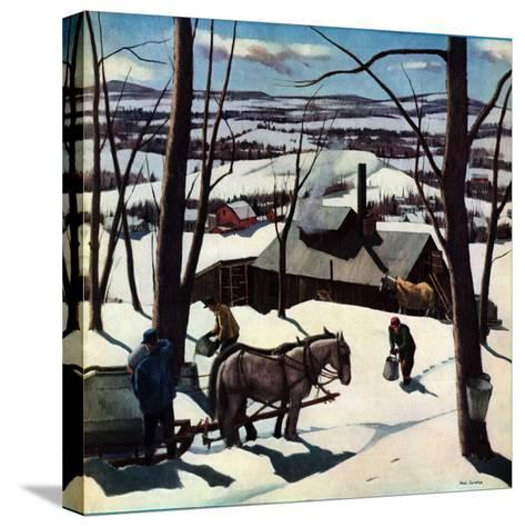 """Maple Sap Harvest at Dusk,""March 1, 1942-Paul Sample-Stretched Canvas Print"