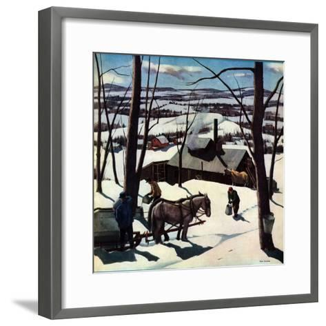 """Maple Sap Harvest at Dusk,""March 1, 1942-Paul Sample-Framed Art Print"