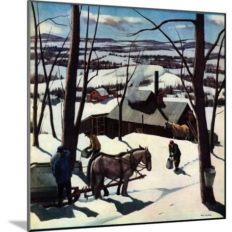 """Maple Sap Harvest at Dusk,""March 1, 1942-Paul Sample-Mounted Giclee Print"