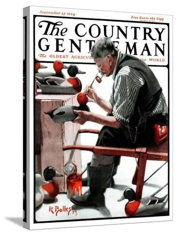 """""""Painting Decoys,"""" Country Gentleman Cover, September 27, 1924-R^ Bolles-Stretched Canvas Print"""