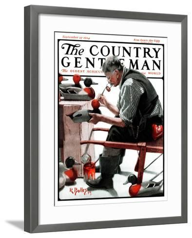 """Painting Decoys,"" Country Gentleman Cover, September 27, 1924-R^ Bolles-Framed Art Print"