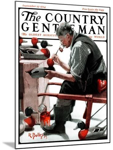 """""""Painting Decoys,"""" Country Gentleman Cover, September 27, 1924-R^ Bolles-Mounted Giclee Print"""
