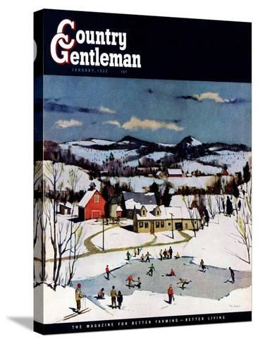 """Skating on Farm Pond,"" Country Gentleman Cover, January 1, 1950-Paul Sample-Stretched Canvas Print"