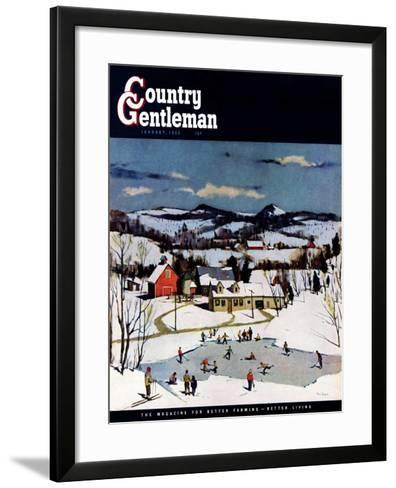 """Skating on Farm Pond,"" Country Gentleman Cover, January 1, 1950-Paul Sample-Framed Art Print"