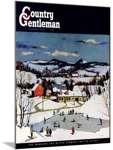 """Skating on Farm Pond,"" Country Gentleman Cover, January 1, 1950-Paul Sample-Mounted Giclee Print"