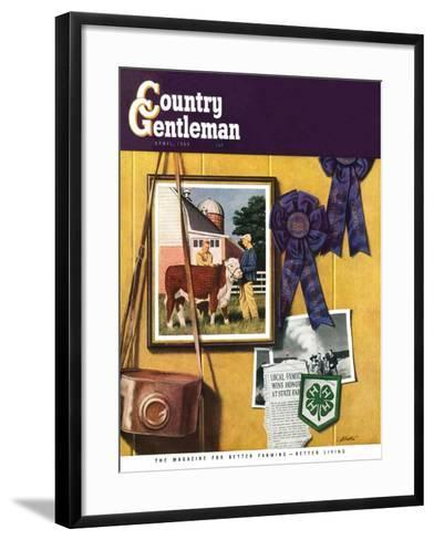 """4-H Momentos,"" Country Gentleman Cover, April 1, 1950-John Atherton-Framed Art Print"