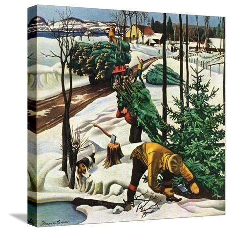 """""""Harvesting Christmas Trees,""""December 1, 1942-Francis Chase-Stretched Canvas Print"""