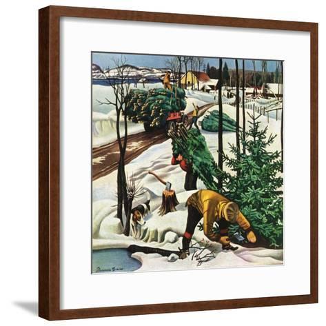 """""""Harvesting Christmas Trees,""""December 1, 1942-Francis Chase-Framed Art Print"""