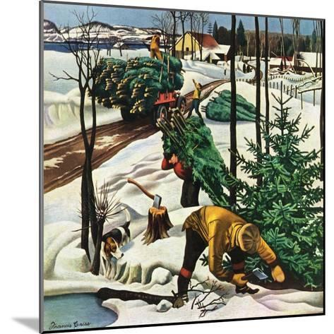 """""""Harvesting Christmas Trees,""""December 1, 1942-Francis Chase-Mounted Giclee Print"""