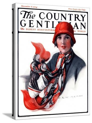 """""""Woman in Red Cloche and Scarf,"""" Country Gentleman Cover, November 8, 1924-Katherine R^ Wireman-Stretched Canvas Print"""
