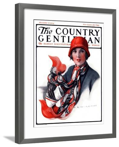 """""""Woman in Red Cloche and Scarf,"""" Country Gentleman Cover, November 8, 1924-Katherine R^ Wireman-Framed Art Print"""