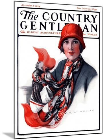 """""""Woman in Red Cloche and Scarf,"""" Country Gentleman Cover, November 8, 1924-Katherine R^ Wireman-Mounted Giclee Print"""