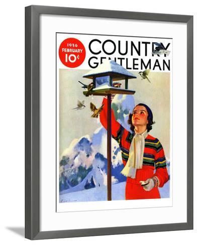 """Feeding the Birds,"" Country Gentleman Cover, February 1, 1936-Jack Murray-Framed Art Print"