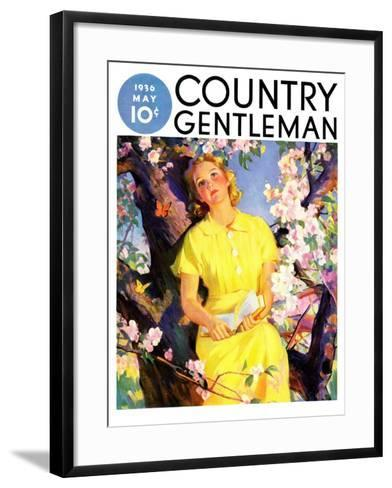 """""""Reading Among the Blossoms,"""" Country Gentleman Cover, May 1, 1936--Framed Art Print"""