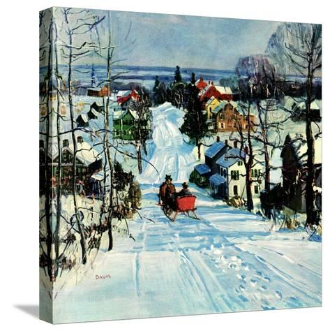 """Sleigh on Snowy Village Street,""February 1, 1931-Walter Baum-Stretched Canvas Print"