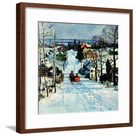 """Sleigh on Snowy Village Street,""February 1, 1931-Walter Baum-Framed Art Print"