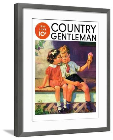 """""""Kiss for Ice Cream,"""" Country Gentleman Cover, June 1, 1936-Henry Hintermeister-Framed Art Print"""
