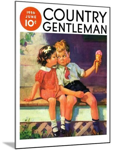 """""""Kiss for Ice Cream,"""" Country Gentleman Cover, June 1, 1936-Henry Hintermeister-Mounted Giclee Print"""