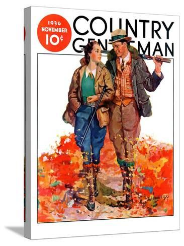 """""""Hunting Couple on Walk,"""" Country Gentleman Cover, November 1, 1936-J. Hennesy-Stretched Canvas Print"""