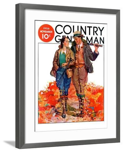 """Hunting Couple on Walk,"" Country Gentleman Cover, November 1, 1936-J. Hennesy-Framed Art Print"