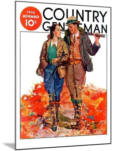 """""""Hunting Couple on Walk,"""" Country Gentleman Cover, November 1, 1936-J. Hennesy-Mounted Giclee Print"""