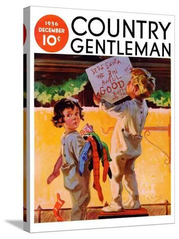 """We Bin Awful Good,"" Country Gentleman Cover, December 1, 1936-Henry Hintermeister-Stretched Canvas Print"