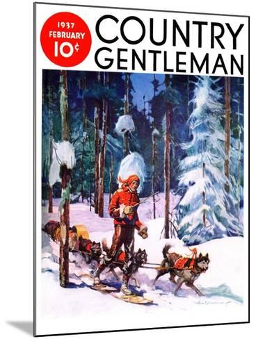 """Dog Sled,"" Country Gentleman Cover, February 1, 1937-Frank Schoonover-Mounted Giclee Print"