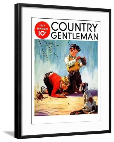 """Lost All His Marbles,"" Country Gentleman Cover, March 1, 1937-Henry Hintermeister-Framed Art Print"