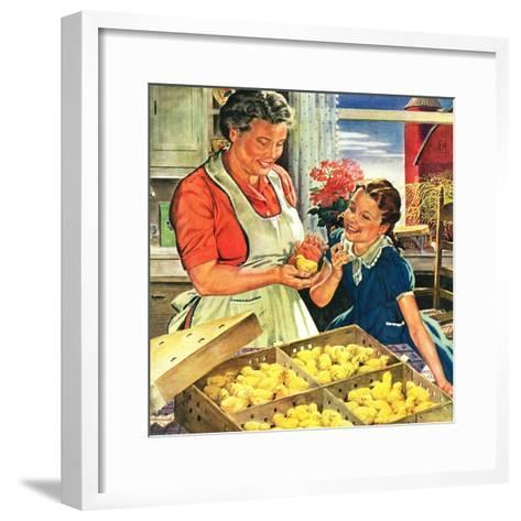 """""""Crate of New Baby Chicks,""""April 1, 1945-W^C^ Griffith-Framed Art Print"""