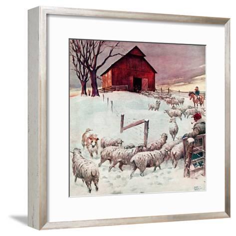 """""""Herding Sheep into Barn,""""February 1, 1946-Matt Clark-Framed Art Print"""