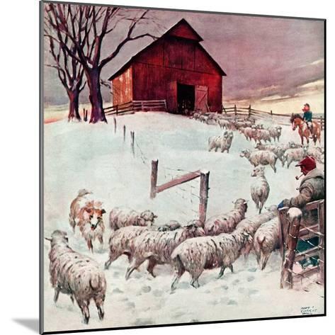 """Herding Sheep into Barn,""February 1, 1946-Matt Clark-Mounted Giclee Print"