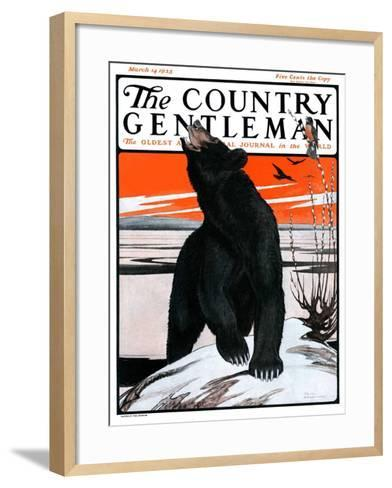 """""""Bear and Robin Welcome Spring,"""" Country Gentleman Cover, March 14, 1925-Paul Bransom-Framed Art Print"""