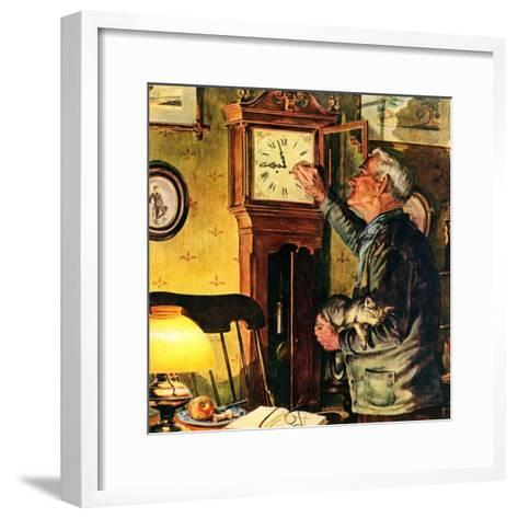 """""""Father and Time,""""March 1, 1946-W^C^ Griffith-Framed Art Print"""