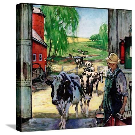 """Milking Time,""July 1, 1946-Matt Clark-Stretched Canvas Print"