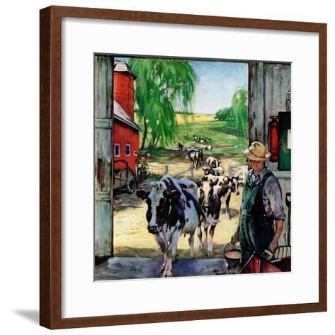 """""""Milking Time,""""July 1, 1946-Matt Clark-Framed Art Print"""