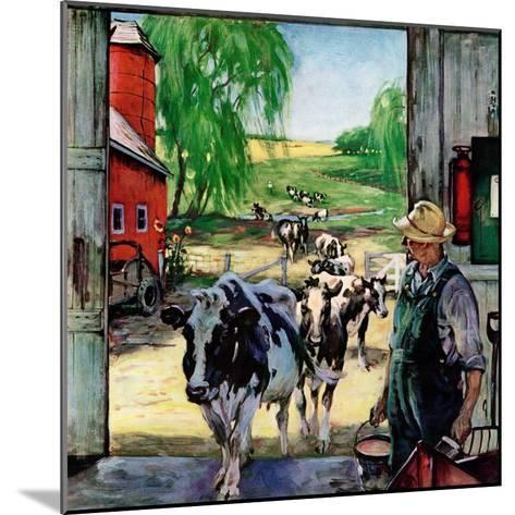 """Milking Time,""July 1, 1946-Matt Clark-Mounted Giclee Print"