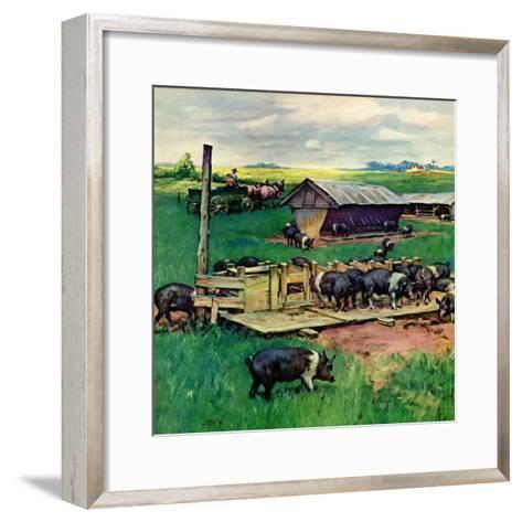 """""""Pigs Feeding,""""September 1, 1946-Matt Clark-Framed Art Print"""