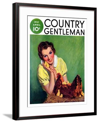 """Baby Chicks,"" Country Gentleman Cover, April 1, 1937-Tom L. Chore-Framed Art Print"