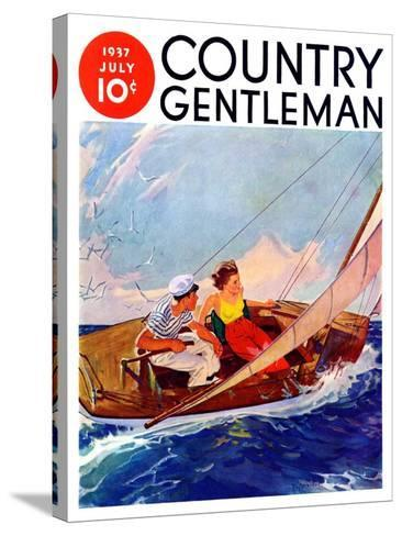 """""""Couple Sailing,"""" Country Gentleman Cover, July 1, 1937-R^J^ Cavaliere-Stretched Canvas Print"""