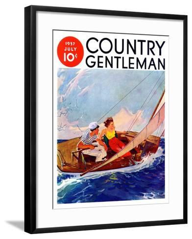 """""""Couple Sailing,"""" Country Gentleman Cover, July 1, 1937-R^J^ Cavaliere-Framed Art Print"""
