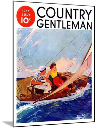 """""""Couple Sailing,"""" Country Gentleman Cover, July 1, 1937-R^J^ Cavaliere-Mounted Giclee Print"""