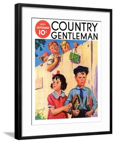 """""""Carrying Her Books for Her,"""" Country Gentleman Cover, September 1, 1937-Henry Hintermeister-Framed Art Print"""