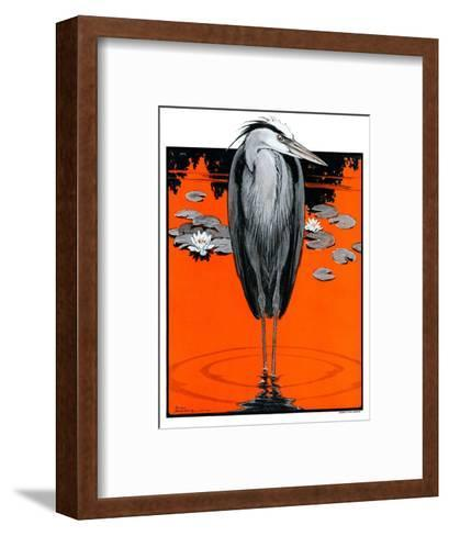 """""""Crane and Lilly Pads,""""May 3, 1924-Paul Bransom-Framed Art Print"""