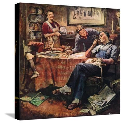 """""""Around the Table after Dinner,""""March 1, 1947-Herman Geisen-Stretched Canvas Print"""