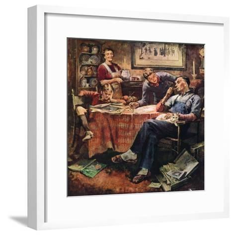 """""""Around the Table after Dinner,""""March 1, 1947-Herman Geisen-Framed Art Print"""